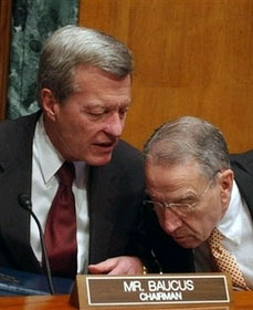 """Blue Dog Democrat"" Sen. Max Baucus (D-MT) talks health care with Sen. Chuck Grassley (R-IA)"