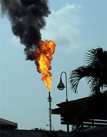 Over 100 billion cubic meters of natural gas are flared or burned off annually (Cough)