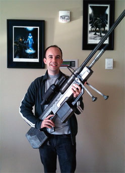 Man with extra-large gun